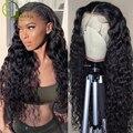 Sterly 4x4 кружева закрытие парик перуанские человеческие волосы волна Синтетические волосы на кружеве парик человеческих волос глубоко вьющи...