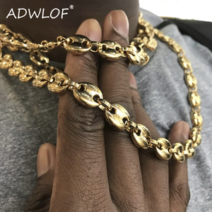 Hip Hop 11MM Width Stainless Steel Coffee Beans Link Chain Necklace Fashion Necklaces for Man Jewelry