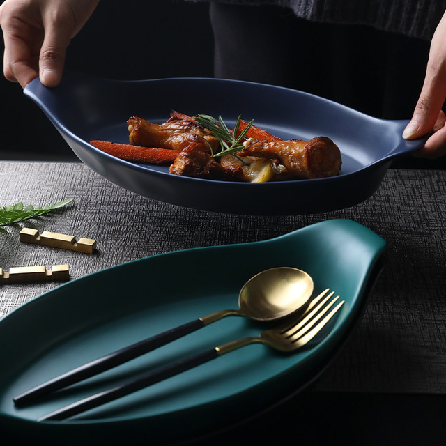 Ceramic Steamed Fish Baking Tray Baked Rice Bowl Plate Large Dish Creative Microwave Oven Special Home New Dinner Plates