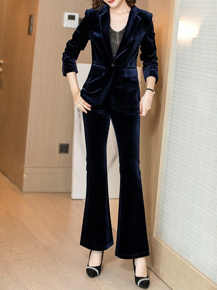 Women's Suit Gold Velvet Retro Slim Temperament Suit Blazers With Wide Leg Pants Set Women's Business Casual Business Wear