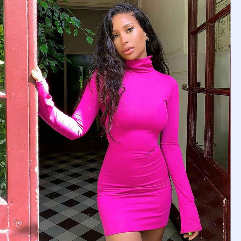 Donne calde di Vendita Cornici e articoli da esposizione Hip Vestito Dalla Fasciatura di Bodycon Mini Vestito A Vita Alta Collo Slim Hip Solido Rosa Rosso Casual vestito