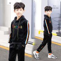 2019 Winter fashion boys clothes velvet long sleeve color bar jacket+pants 2pcs tracksuit boy clothing set for 6 8 10 12 14 year