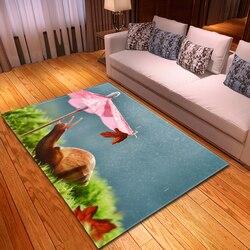 Styl skandynawski 3D ślimaki dywan do salonu miękka flanelowa nocna dywan do składania dziecka indeksowania mata do zabawy Parlor Sofa owady dywan dywany
