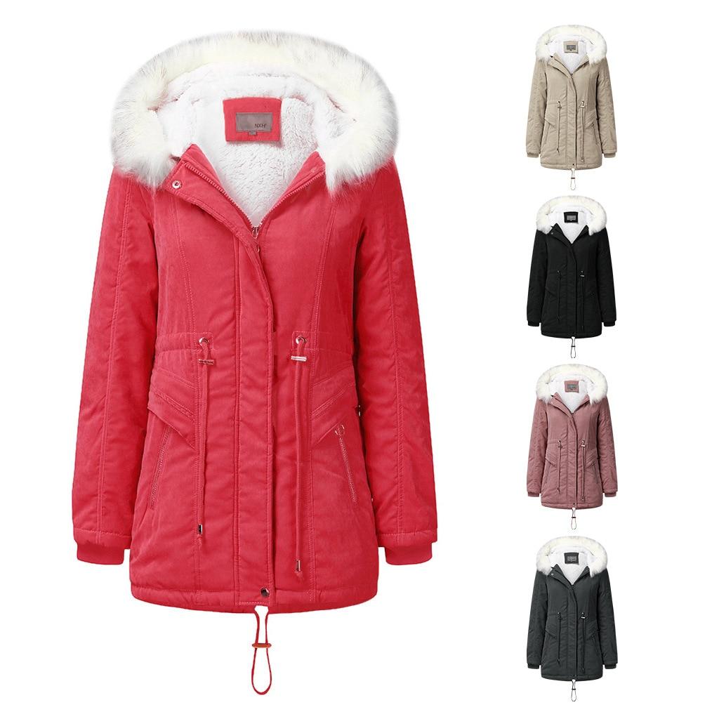 Купить женская теплая флисовая парка с капюшоном и подкладкой пальто