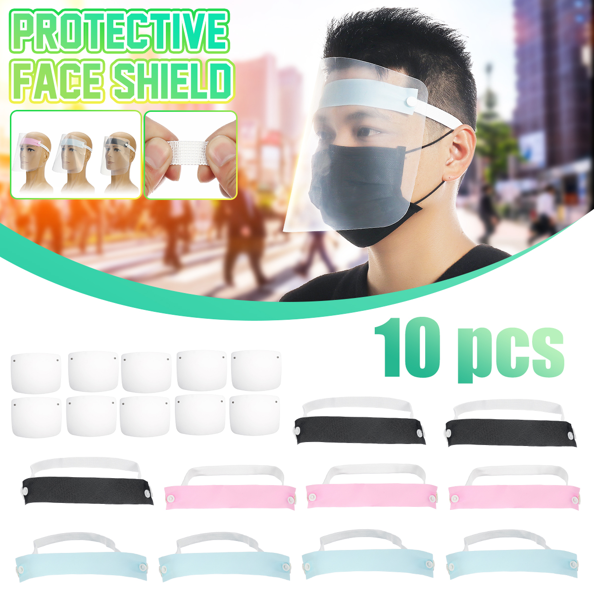 10Pcs Full Face Protective Mask Transparent Face Mask Shield High Protection Clear Anti Smog Eye Protection Mask Tools