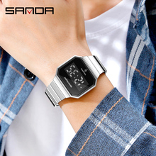 Sanda Men Digital Watch Casual Simple LED Touch Screen Electronic Wrist Watches Stainless Steel Square Luxury Waterproof Clock