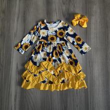 Da queda do outono/inverno meninas roupas marinha mostarda floral girassol seda leite plissado roupa dos miúdos do bebê ruffles maxi vestido jogo arco