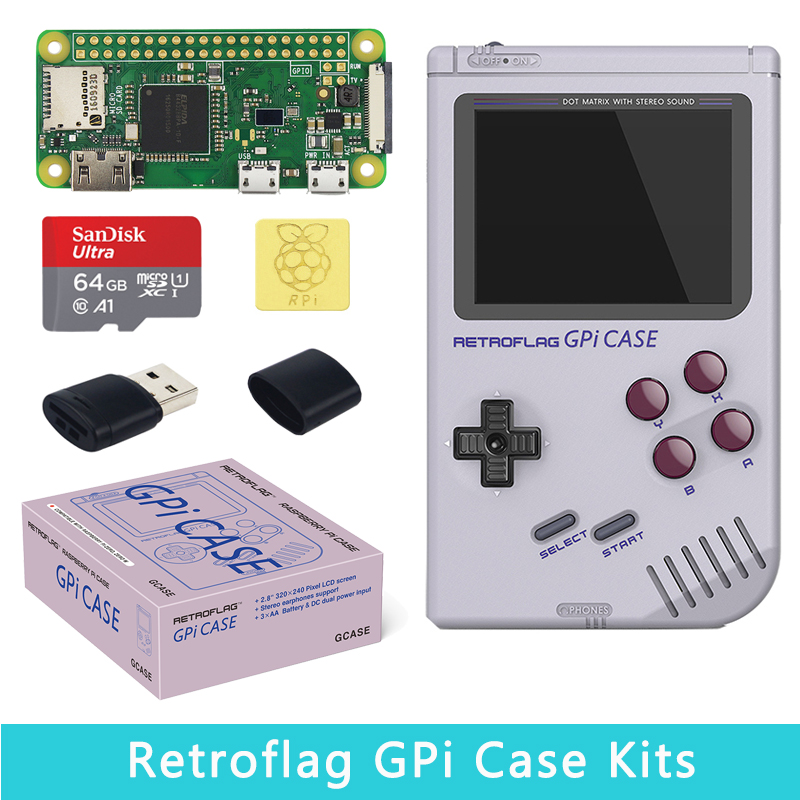 Original Retroflag GPi Case Game Set For Raspberry Pi Zero W 1.3 Optional 32GB 64GB SD Card Copper Heat Sinks For RPI Zero