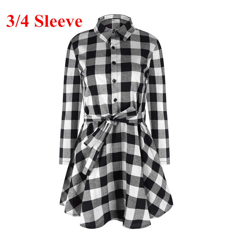 Women Retro Lapel Long Sleeve Mini Plaid Shirt Dress robe femme Casual Blouse