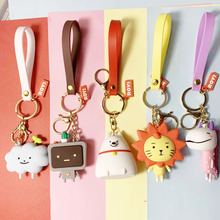 High Quality 2019 New Cute Cartoon Bear Key Chain Gifts For Women Girls Bag Pendant Epoxy PVC Figure Charms Keychains Jewelry