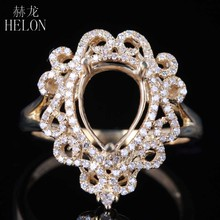 HELON Solid 14K Yellow Gold 0.4ct Diamond Vintage Antique Engagement Wedding Trendy Jewelry Semi Mount Ring Fit Pear Cut 10x7mm(China)