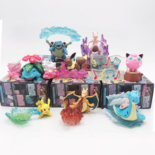 TAKARA TOMY Pokemon Pocket Monsters Pikachu Articuno Eevee Figure Elf Doll Scenes Toys Action Figure Kids Gifts 8pcs/set