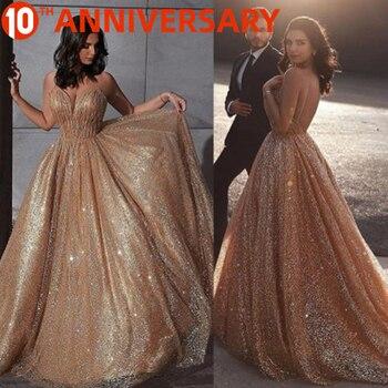 OllyMurs  Strapless sleeveless gold sequin evening dress V-neck Elegant luxury golden glitter 100% the same as the picture