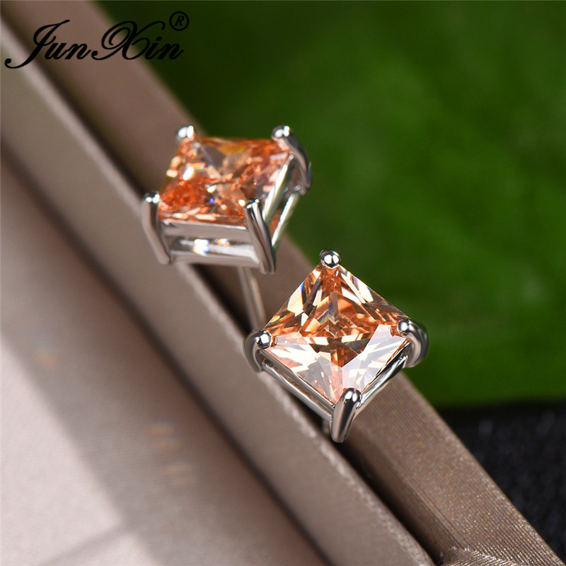 Zircon Square Stud Earrings For Women Princess Crystal Birthstone Wedding Ear Studs Jewelry