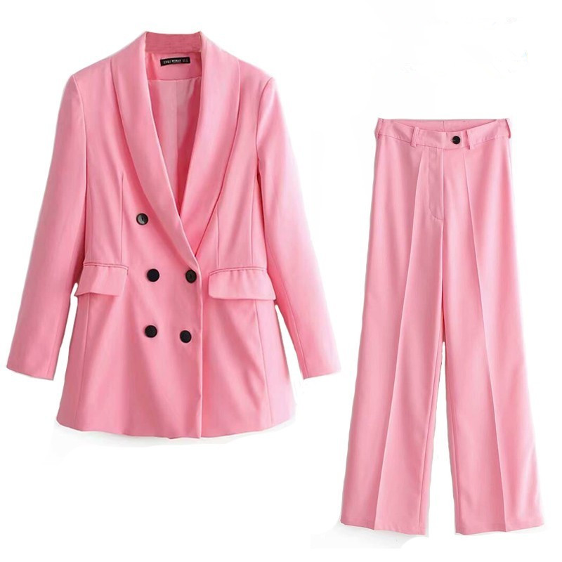 Pink Pants Suit Women 2019 Office Lady Suit Set Double Breasted Long Pink Blazer Jacket High Waist Straight Pants 2 Pieces Set