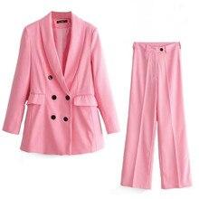 Pink Pants Suit Women 2019 Office Lady Suit Set