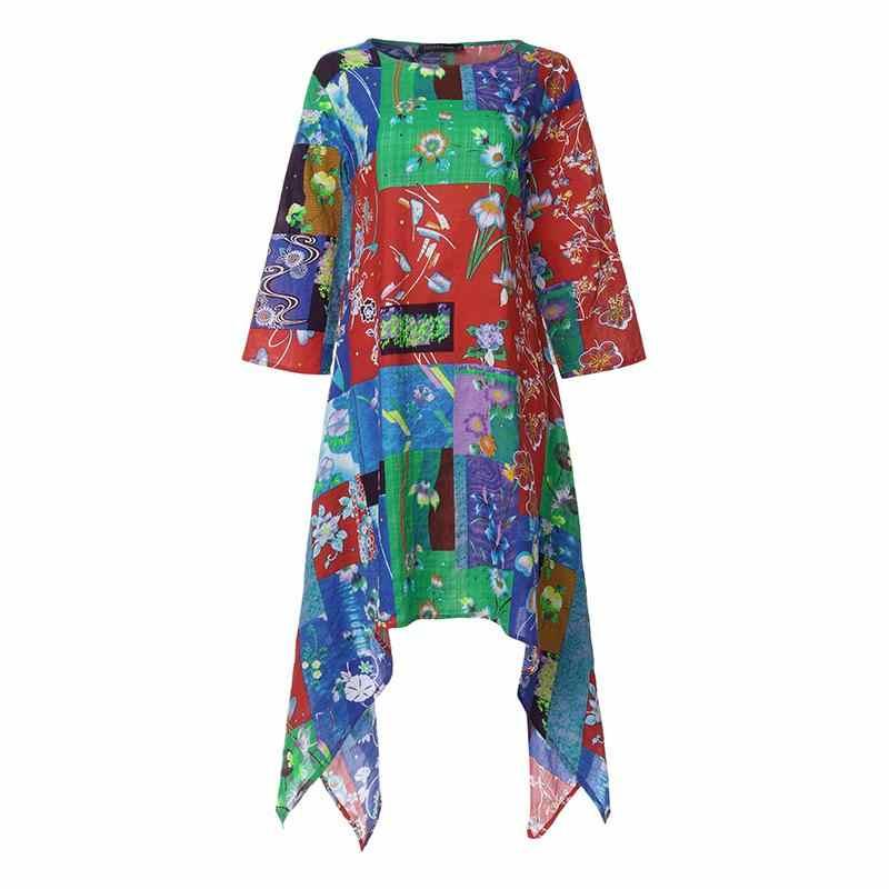 ZANZEA 2019 빈티지 비대칭 드레스 여성용 프린트 Midi Sundress 캐쥬얼 3/4 슬리브 튜닉 Vestidos 여성 패치 워크 Robe 5XL