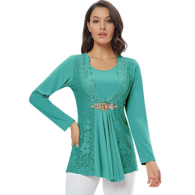 YTL Ladies Golden Diamond Waist Decoration Slim Tunic Tops Casual Party Long Sleeve Women Elegant Lace Floral Blouse Shirt H025G 8