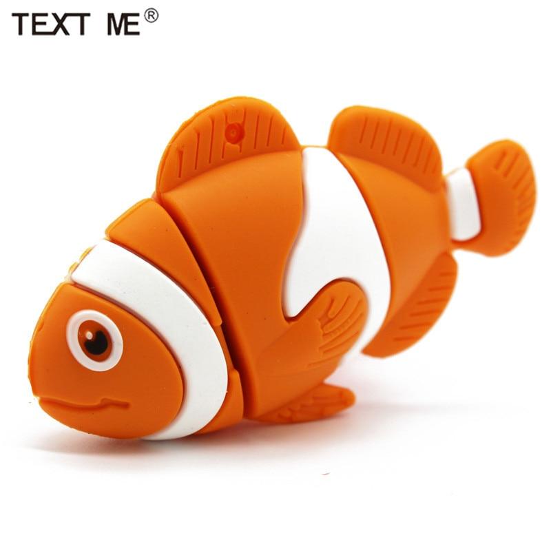 TEXT ME Orange Fish Usb2.0 Cute Usb Flash Drive Usb 2.0 4GB 8GB 16GB 32GB Gift 64GB Pendrive
