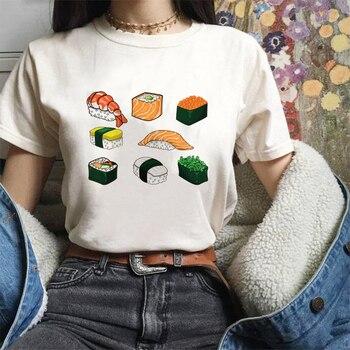 2020 Nieuwe Japanse Stijl Kawaii Sushi Lucky Cat Print Harajuku Leisure Roze Streetwear Trainingspak Persoonlijkheid Vogue Vrouwen T-shirt