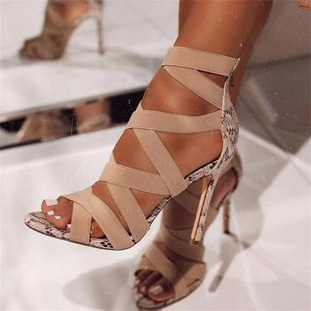 Woman Summer Shoes High Heels Cross-tied Elastic Band Sandals Fashion Ladies Girls Snakeskin Thin Heel Sexy Women Party Sandals