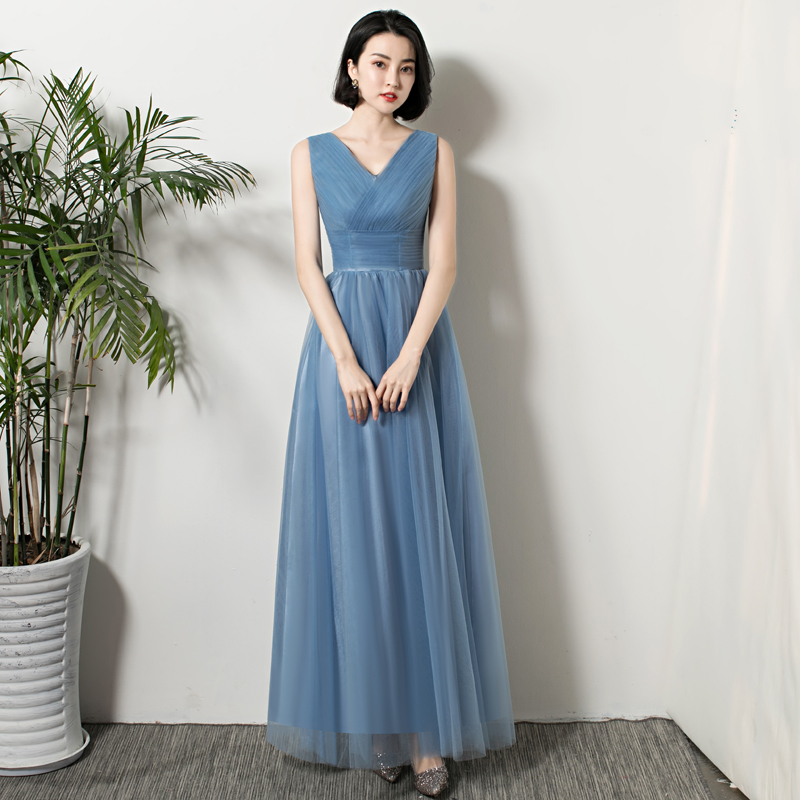 Gray Blue Bridesmaid Plus Size Tulle Elegant Dress Women For Wedding Party A-Line Floor-Length Simple Long Dress Prom Azul Royal