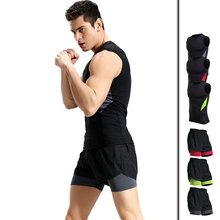 Summer Men Sportswear Sweatsuit Quickly Dry Elastic Sleeveless Sweatshirt Sport Short Casual Jogger Workout Running Clothes