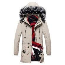 Mens Winter Jackets and Coats Fur Hooded Parkas Men Solid Warm Zipper Casual Cotton Jacket  Ropa De Hombre 2019