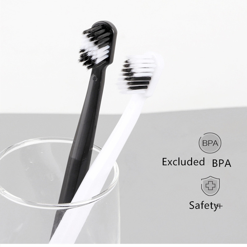 2Pcs Simple Couple Toothbrush Adult Toothbrush Black White Bamboo Charcoal Soft-bristle Portable Toothbrush Household Oral Care