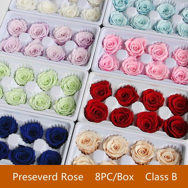 8 шт./кор. свежая консервированная Роза коробка бессмертный роза цветок DIY Материал оптовая продажа цветочное оформление Eternal цветы 4-5 см, кла...
