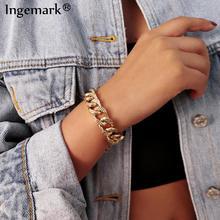 Punk Miami Cuban Aluminum Chain Bracelet Bangle Hip Hop Boho Big Chunky Thick Link Lock Twisted  Women Hand Wrist Jewelry Gifts