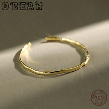 OBEAR 925 Sterling Silver INS Simple Irregular Concave Smooth Bangle Bracelet Open Bangles For Women High-Quality Jewelry Gifts(China)