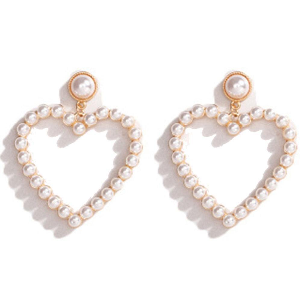 Серьги-кольца с жемчугом в форме сердца женские, висячие украшения с искусственным жемчугом, с кольцами и бусинами, элегантные