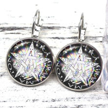 New Retro Satanic Baphomet Five-pointed Star Earrings Gothic Silver-plated Devil Glass Pagan Charm