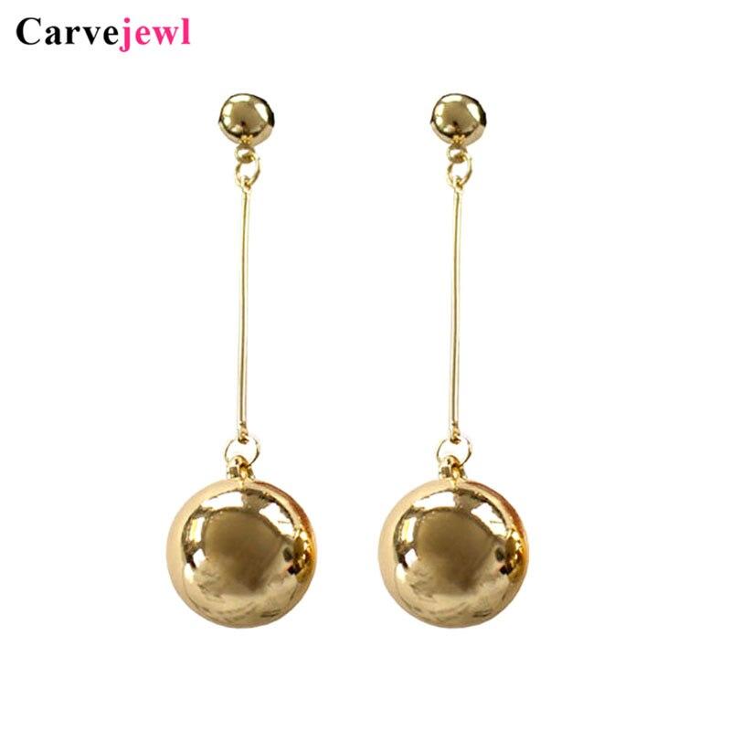Длинные серьги Carvejewl, большие круглые серьги-подвески с шариком CCB, висячие серьги для женщин, ювелирные изделия, простые модные корейские оф...
