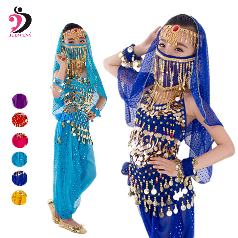 Bellydance Costume For Kids Girls Oriental Indian Egypt Egyptian Dress Suit Bollywood Belly Dance Costumes  Top Pants Belt Veil