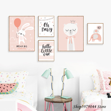 Baby Girl Room Decor Wall Art Paintings Pink Rabbit Posters And Prints Decoration Cartoon Decoracion Unframed