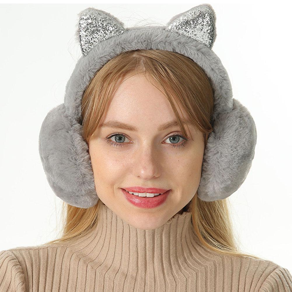 1 Pcs Women Girl Fur Winter Ear Warmer Earmuffs Cat Ear Muffs Earlap Glitter Sequin Earmuffs Headband Fashion Accessories