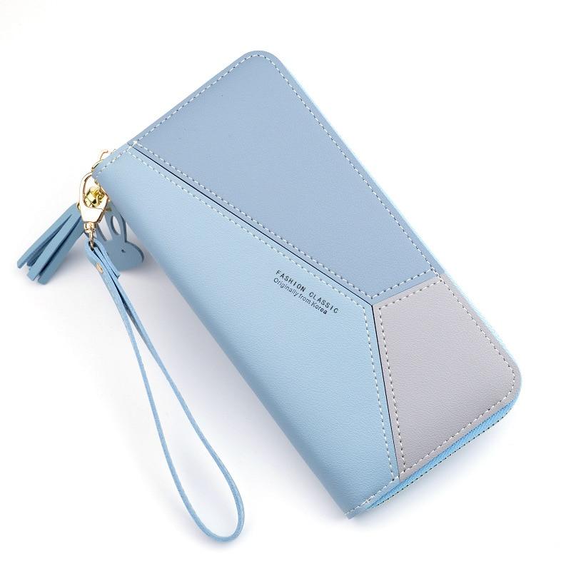 Геометрические женские кошельки на молнии, розовый карман для телефона, кошелек, держатель для карт, пэчворк, Женский Длинный кошелек, Дамский короткий кошелек с кисточками - Цвет: Long-Blue