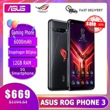 Asus rog telefone 3 rom global gaming telefone 12gb ram 128/256 gb rom atualização snapdragon865/865plus 6000mah smartphone