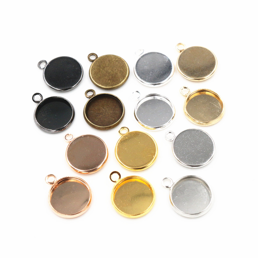 50pcs 12mm Inner Size Bright Silver And Rhodium Rose Gold  Colors Plated High Quality Iron Material Cameo Setting Pendant Tray