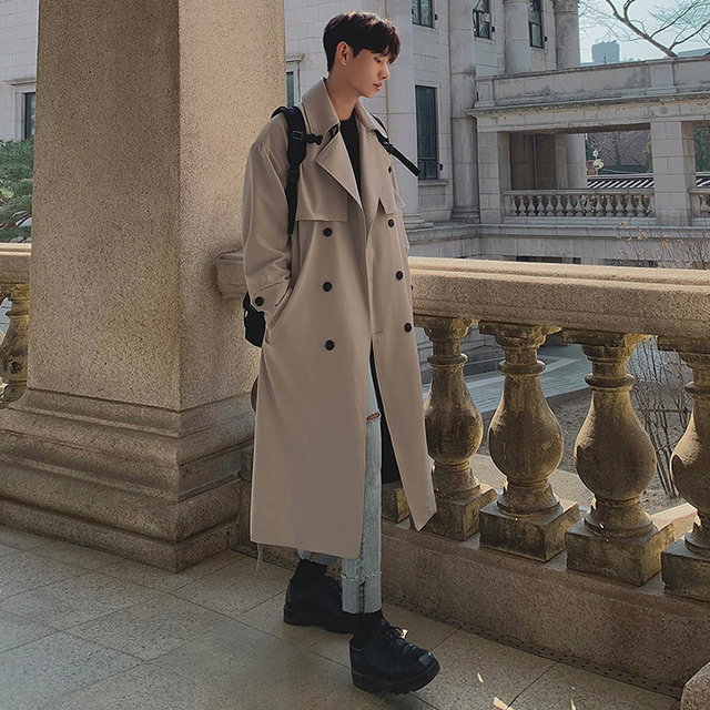IEFB Men's Wear 2021 Spring  Fashion New Double Breasted Clothes Male Long Coat Loose Overcoat Trend Handsome Casual Windbreak 2