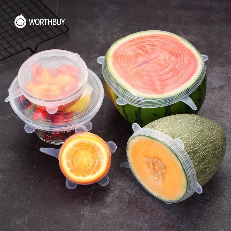 WORTHBUY 6 Pcs/Set Пищевая силиконовая крышка-колпак универсальные силиконовые крышки для посуды чаша многоразовые тянущиеся кухонные крышки аксессуары