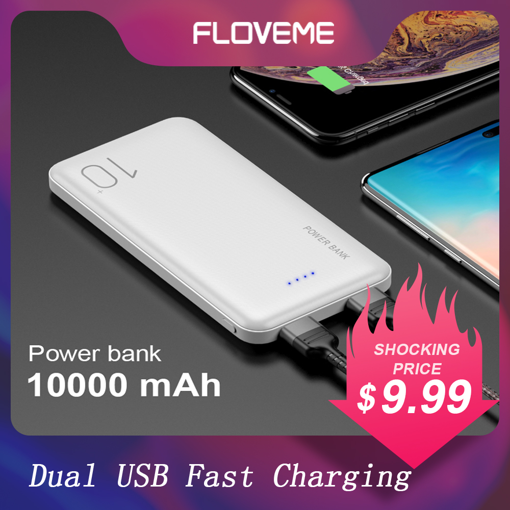 FLOVEME Portable Battery 10000mAh Powerbank For Huawei LED Display External Battery Dual USB Fast Charging Ultra Thin Power Bank