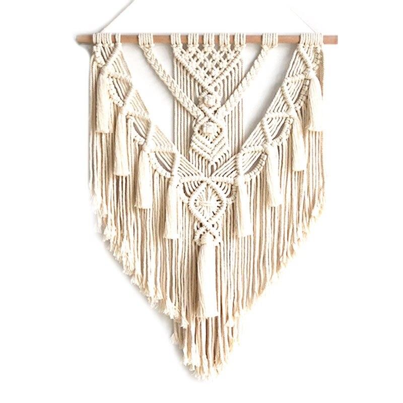 Макраме настенный подвесной гобелен настенный Декор Бохо шикарный богемный тканый домашний декор 55x70 см