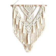 Makrama wiszące gobeliny ścienne dekoracje ścienne Boho Chic artystyczny splot dekoracji wnętrz 55X70cm