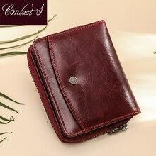 Portafoglio donna piccolo portafoglio donna portafogli in vera pelle portamonete Rfid rosso Mini porta carte portamonete pochette Carteira Feminina