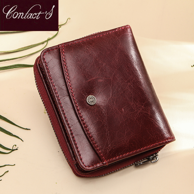 Small Women Wallet Female Purse Genuine Leather Wallets Red Rfid Coin Purse Mini Card Holder Money Bag Clutch Carteira Feminina