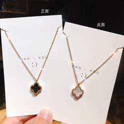 New double-sided wear trend classic four-leaf clover necklace red black color titanium steel clavicle chain lip chain pendant