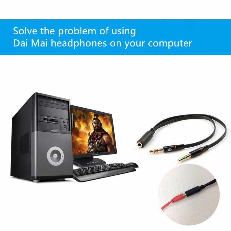 3.5mm czarny kabel do słuchawek słuchawkowych Micphone Y przejściówka rozgałęziająca 1 żeński do 2 męskiego podłączonego przewodu do laptopa